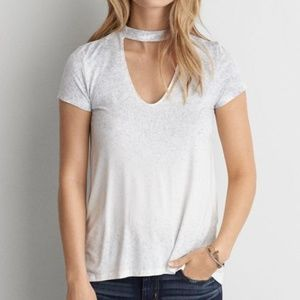 AEO White Gray Speckled Choker T-Shirt NWT